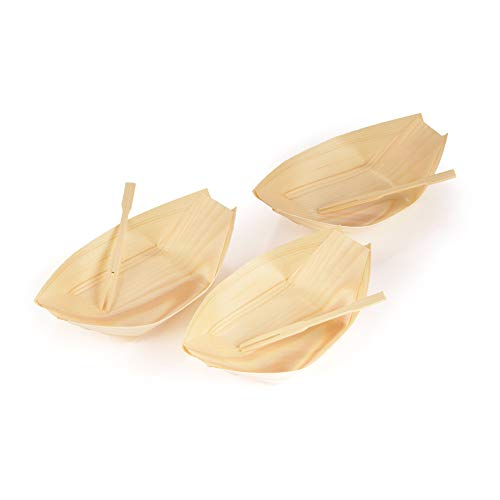 BambooMN Brand - Disposable Wood Boat Plates/Dishes, 4.3