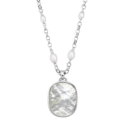Honora Oval Freshwater Cultured Pearl Necklace with Mother-of-Pearl Doublet Enhancer in Sterling Silver