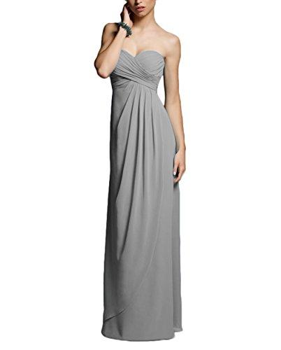 Talinadress Longue Robe De Bal Robe De Demoiselle D'honneur Empire Sweetheart En Mousseline De Soie Sans Bretelles E282lf Gris