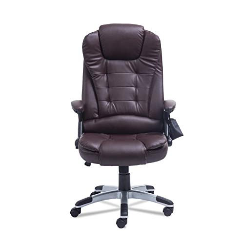 Belovedkai Office Computer Desk Massage Chair, 6 Vibration Point Executive Ergonomic PU Leather Swivel Computer Gaming Chair (Brown)