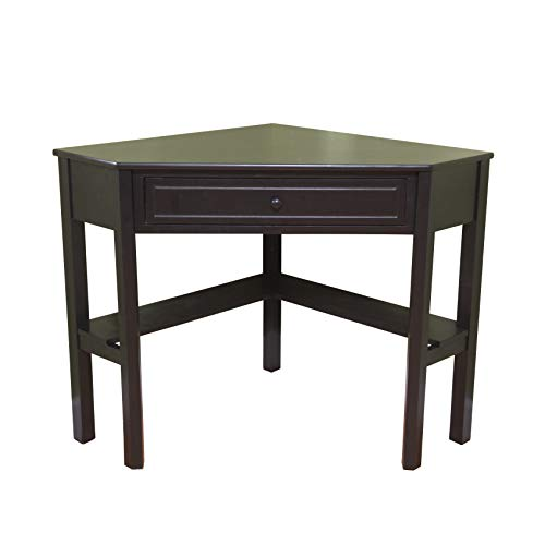 Target Marketing Systems Wood Corner Desk with One Drawer and One Storage Shelf, Black Finish