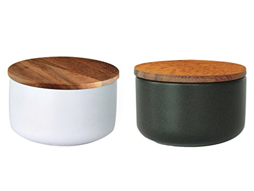 Salt and Pepper Spice Box Storage Set of Two - Stoneware with Acacia Wood Covered Lid with Seal