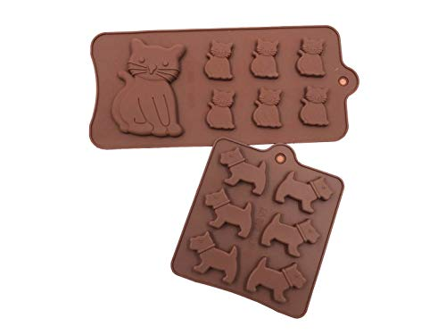 Food Grade Silicone Cake Moulds,ICASA Silicone Dog and Cat Ice Cube Mold, Candy, Jelly, Biscuits, Chocolate, Cupcake Baking Mould, Muffin Pan 2 Pcs