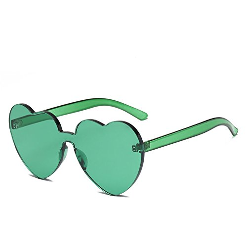 Heart Shaped Rimless Sunglasses Candy Steampunk Lens for women girl (green, ()