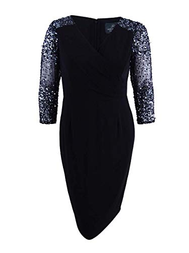 Papell Adrianna Black Dress (Adrianna Papell Womens Plus 3/4 Sleeves Knee-Length Cocktail Dress Black 16W)