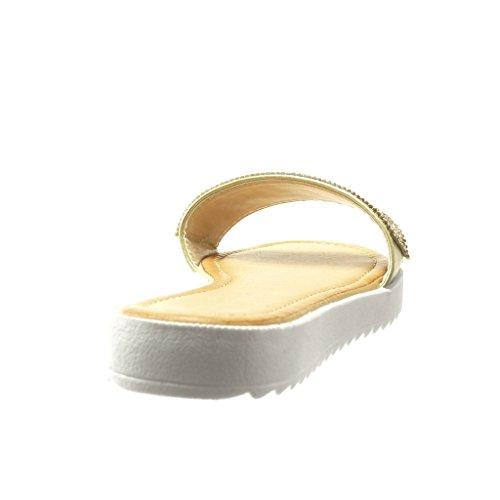 Angkorly - Zapatillas de Moda Sandalias mujer strass Talón tacón plano 2 CM - Oro