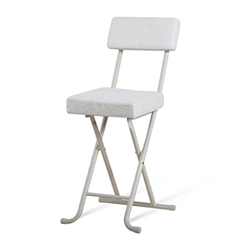 (Chair - folding stool, home office chair, indoor metal dining table/modern minimalist bar chair/portable leisure square stool (Color : White))