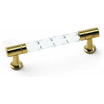 Laurey 82904 3 Inch Acrystal Pull, Acrylic With Brass Legs