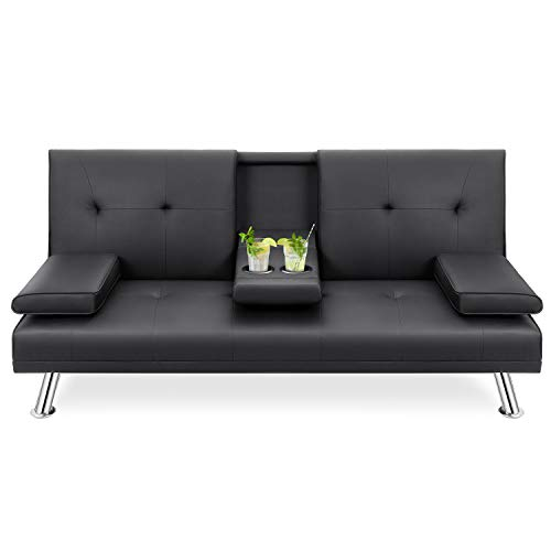 Walsunny Modern Faux Leather Couch, Convertible Futon