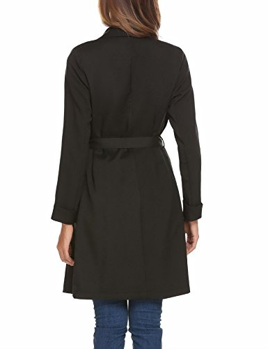 Mofavor Women's Lapel Collar Casual Open Front Cardigan Belted Trench Coat Jacket With Pockets(Black,L) by Mofavor (Image #5)