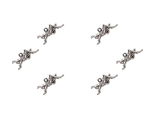 6 Pieces Silver 3D Locust Pewter Charm Pendant bracelets finding Jewelry Craft DIY
