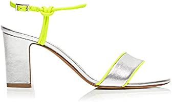 Tabitha Simmons 'Bungee Block' Block Heel Sandal w/Fluorescent Trim Detail, 75MM Heel