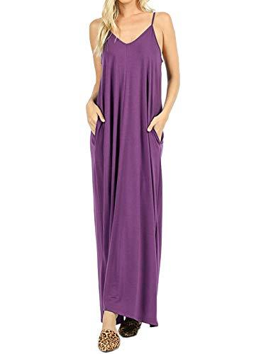 MixMatchy Women's Summer Casual Plain Flowy Pockets Loose Beach Cami Maxi Dress Eggplant M