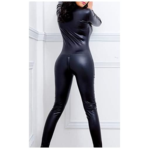 Sorrica Womens Sexy Pu Faux Leather Catsuit Teddy Clubwear