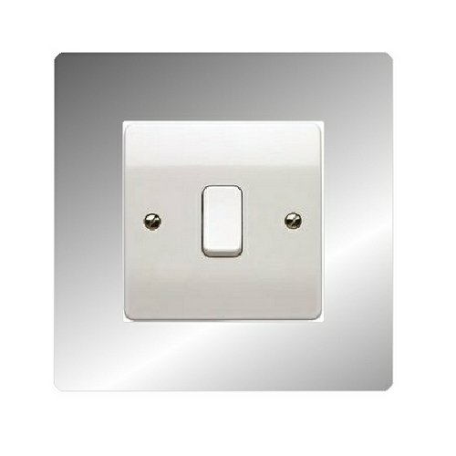 Chrome Light Switch Surround: 2 x Mirror or Clear Acrylic Light Switch 30mm Surround Finger Plate,Lighting
