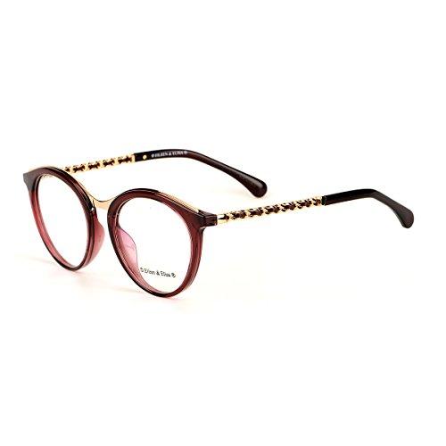 Eileen&Elisa Oval Vinatge Glasses Frame Metal Clear Lens Reading Eyeglasses with Case (Deep Red, - Glasses Vinatge