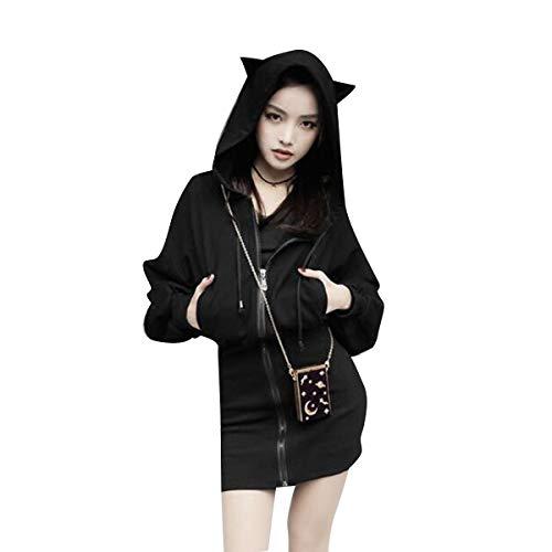 Cintura Capucha Manga Gotfeelin Larga Vestido Sudaderas Oreja Tie Mujeres Cremallera Gato De Black Cordón Mini Con vzqIrazn4