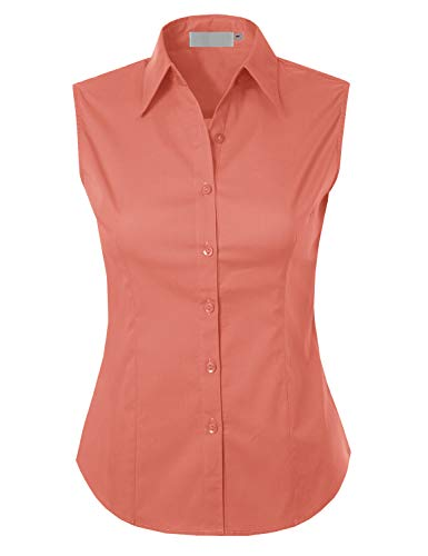 MAYSIX APPAREL Plus Size Sleeveless Stretchy Button Down Collar Office Formal Shirt Blouse for Women Coral 1XL ()