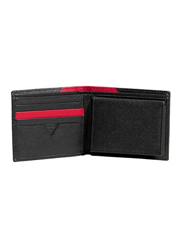 GUESS Men's Saffiano Passcase, BLACK/RED