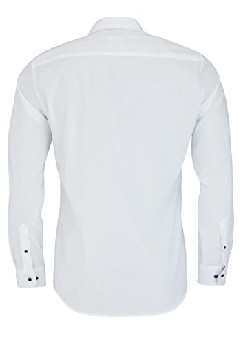 ETERNA Slim Fit Hemd super langer Arm mit Besatz Stretch weiß AL 72