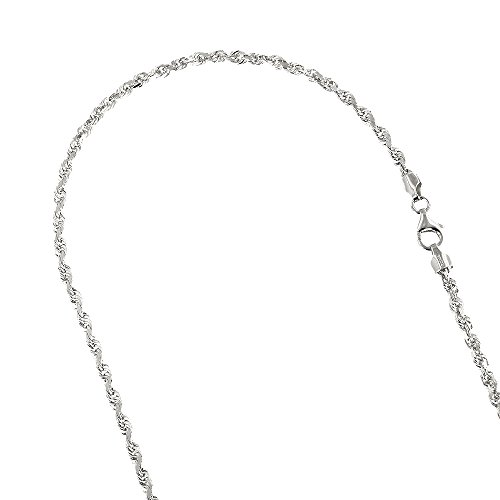 IcedTime Solid 14K White Gold 3mm Wide Rope Chain Diamond Cut Necklace with Lobster Clasp 24
