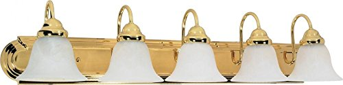 Nuvo 60/331 Ballerina Five Light 36-Inch Vanity with Alabaster Glass, Polished Brass ()