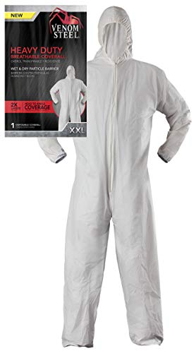 (Venom Steel Disposable Heavy Duty Breathable Coverall, Disposable Coverall is Hooded with Elastic Wrist and Ankles, XX-Large, White)