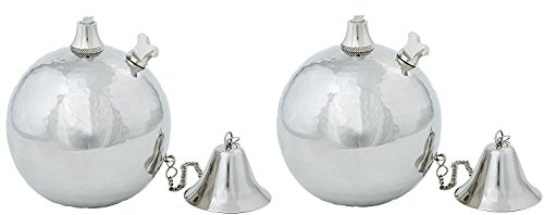 Hammered Stainless Steel Globe Oil Lamp, Tabletop Torch, Set of 2 (Small) by Legends Direct
