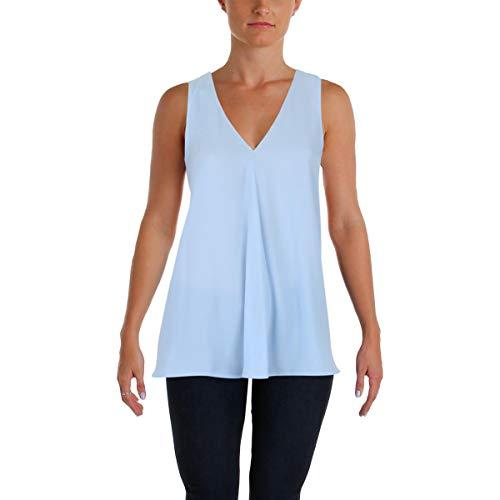 Vince Camuto Womens Sleeveless V-Neck Drape Front Blouse Light Cameo Blue LG One (Drape Front Short)