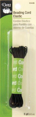 Dritz 9340B Beading Cord Elastic, Black, 1/16-Inch