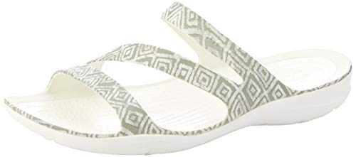Crocs W Graphic Diamond 0ds Swiftwater Bianco grey Donna Aperta Grigio Sandal Punta Sw174qwH