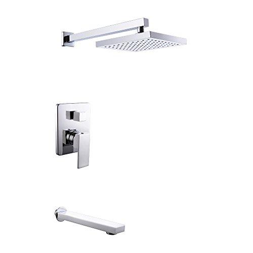 KES X6221 Bathroom Single Handle Shower Faucet Trim Valve Body Tub Spout Complete Kit Modern Square,...