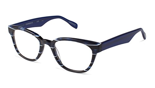 Chambers Street - Rounded Square Trendy Fashion Reading Glasses for Men and Women - Navy Pinstripe/Midnight Blue (+1.75 Magnification Power)