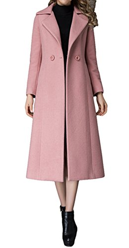 PENER Women's Fashion Suit Collar Coat Cashmere Coat Long Trench Coat Woolen Coat (US 6)