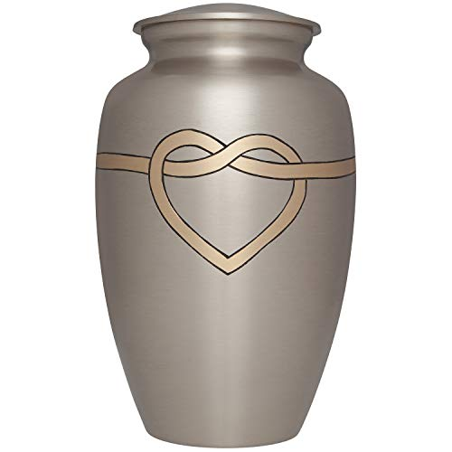Ansons Urns Cremation Urn – Hugging Heart Funeral Urn for Human Ashes – Large Adult Size Burial Urn – 100 Brass Mixed