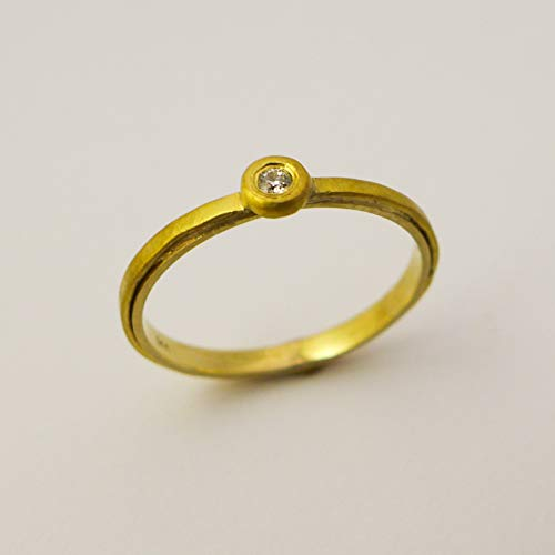 14K and 22K Solid Yellow Gold Diamond Ring for Women. Unique Minimalist Artisan Handmade Engagement Ring