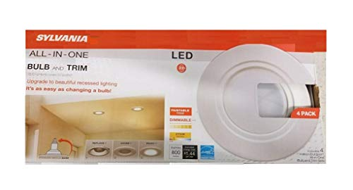 Sylvania All-in-one Led Replacement Bulb & Trim Recessed Lighting 4pk White