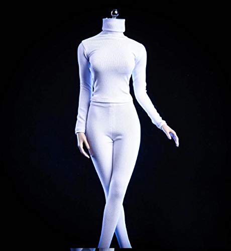(Studio one 1/6 Scale Female Clothes Set 18XG24 Tight Pants and Coat High Collar White for 12''Action Figure Accessories Model Cloth for Doll )