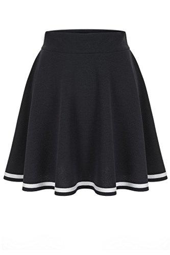 [Super Cute Stripe Trim A-line Flared Skater Mini Skirt (L, Black)] (Black Halloween Skirt)