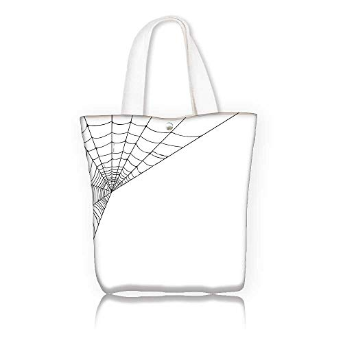 Stylish Canvas Zippered Tote Bag —W21.7 x H14 x D7 INCH/for Gym Hiking Picnic Travel BeachModern Spider Web Icon Background Abstract Form Halloween Scary Evil Themed Illustration Black White.