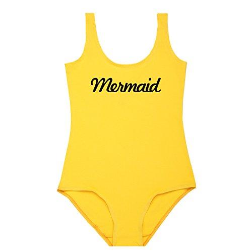Sirena Bodysuit Leotardo Top de la mujer Tumblr carcasa amarillo