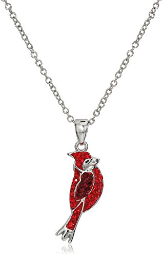 Silver Plated Crystal Cardinal Pendant Necklace