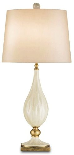 Currey and Company 6325 Belfort - One Light Table Lamp, Antique White Crackle/Brass Finish with Cream Silk Shade (Crackle Porcelain White Antique)