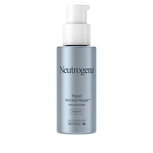 Neutrogena Rapid Wrinkle Repair Accelerated Hyaluronic Acid Retinol Night Cream Face Moisturizer, Anti Wrinkle Face Cream & Neck Cream with Hyaluronic Acid, Retinol & Glycerin, 1 fl. oz ()
