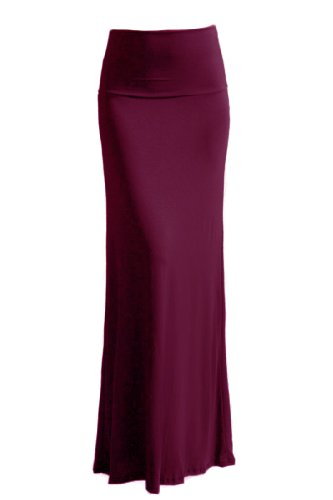 VIV Collection Womens High Quality Solid Flared Maxi Long Skirt