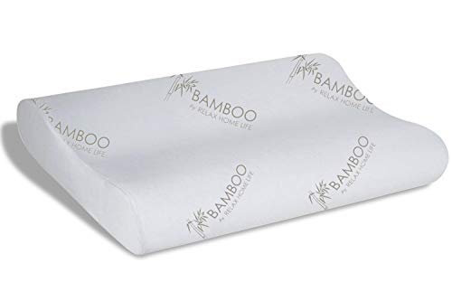 Relax Home Life Cervical Contour Memory Foam Bamboo Pillow | Stay Cool Removable Cover by Bamboo (King 14.5
