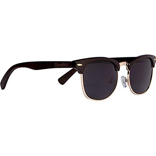 WOODIES Half-Rim Ebony Wood Sunglasses with Black Polarized Lenses