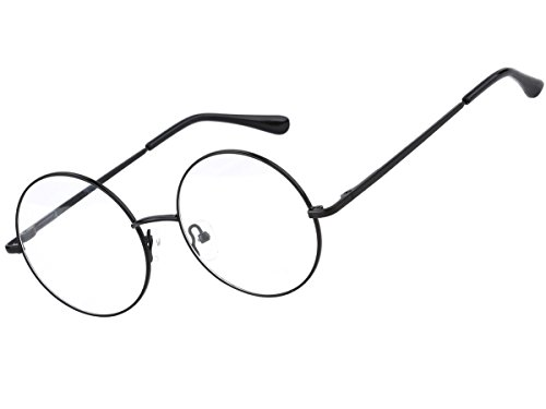 Prescription Glasses Frame Size : Agstum Retro Round Prescription ready Metal Eyeglass Frame ...