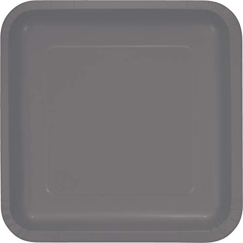 Creative Converting 339653 DINNER PLATES SQ. DD, 9 in, 18 ct, Gray -