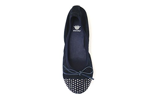 scarpe donna CROWN ballerine blu camoscio AJ114